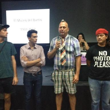 Elvis Lopez with artists from the Aruba Youth Biennale