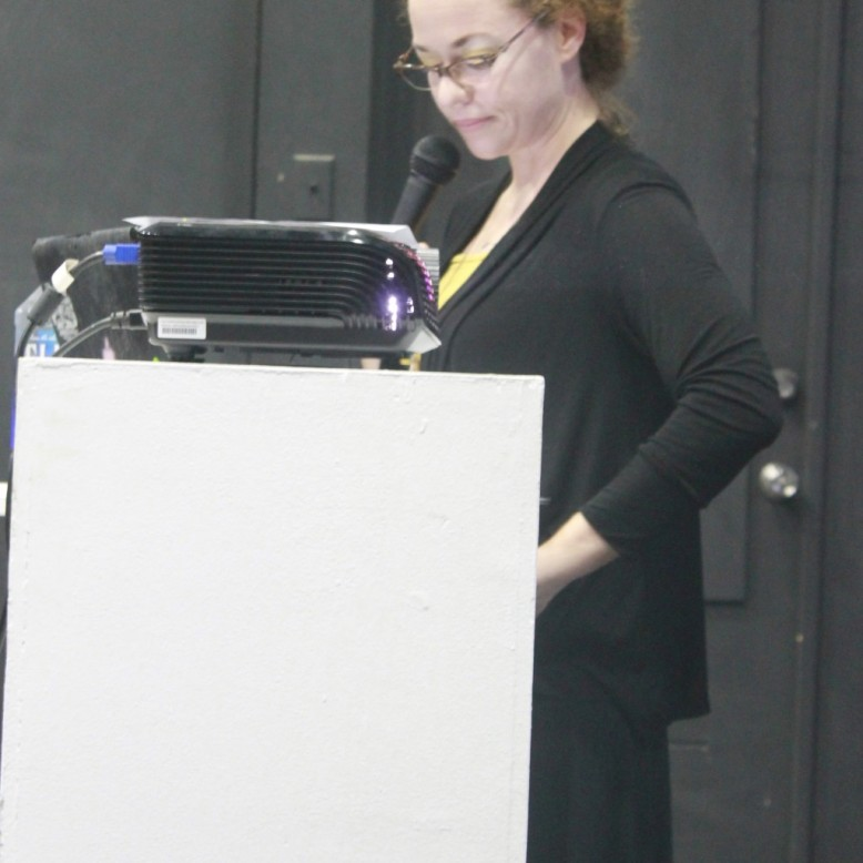 Holly Bynoe delivering her presentation. Photo by Avantia Damberg