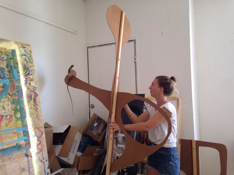 Laura de Vogel at work in her studio.