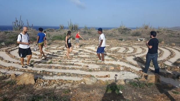 A few CLIV participants walked through the Peace Labyrinth after visiting the nearby Alto Vista Chapel.