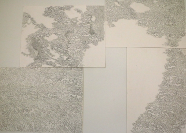 Frances Gallardo, detail of Untitled 1 (Ateliers '89), Graphite on paper, 11 sheets (polyptych) 30cm x 40cm each, 2016. Photo courtesy of Oneika Russell