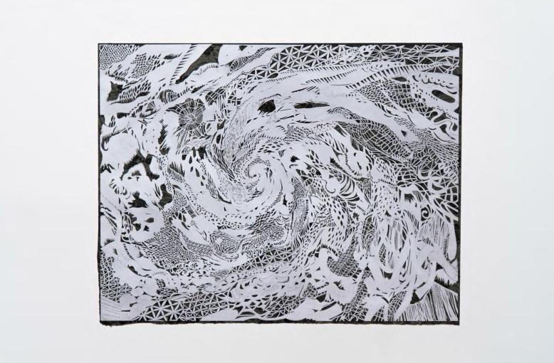 Frances Gallardo, Cynthia, 19.5 in x 25.5 in, cut paper, collage, 2012.