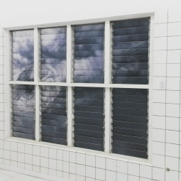 Charlie Godet Thomas, It Stutters in its Little Lines (Façade), Digital print, wood, paint, window brackets, adhesive, 2016. Photo courtesy of Katherine Kennedy