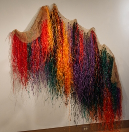 Averia Wright, Elevating the Blue Light Special II, Raffia and Burlap, Dimensions Variable, 2018
