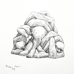 """Franz Caba, Estropajos, Ink on paper, 11""""x15"""", 2017"""