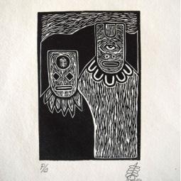 Irvin Aguilar, Kauitl, Woodcut, 14x10 cm image, 28x19 cm paper, Edition of 10, 2016