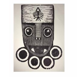 Irvin Aguilar, Serie 24 Alteregos, Woodcut, 30x22 cm image, 39x28 cm paper, 1/1 Edition, Unique print, 2016