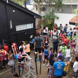 Sticks In De Yard, a stilt-walking/moko jumbie community based project in Trinidad and Tobago