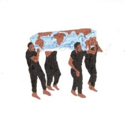 Raily Yance, Atlas andino, oleo sobre papel, 34cm x 27cm, archivos del artista, Maracaibo, 2017