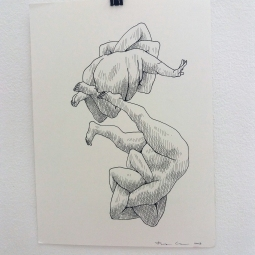 Franz Caba, Two Pigs, Ink on paper, 11″ x 15″, 2018. Photo courtesy of Katherine Kennedy