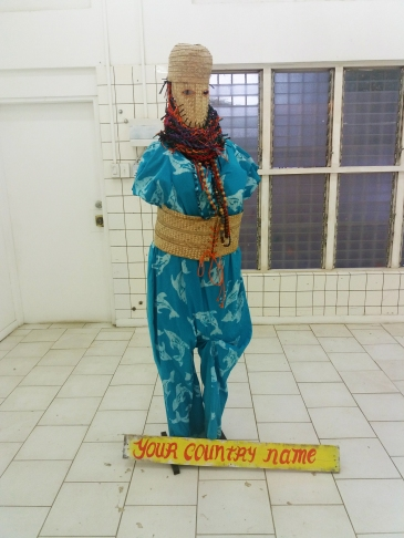 The costume created and worn by Averia Wright for the piece 'Your Country Name', on display at Ateliers '89.