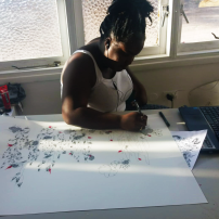 Martinican artist Gwladys Gambie at work