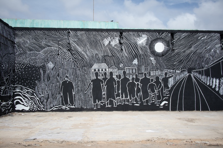 Irvin Aguilar, La Linea en la Memoria, Mural, 2018. Photo courtesy of Sharelly Emanuelson