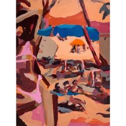 John Reno Jackson, bathers, sun soaked raisins, Acrylic and Charcoal on Canvas. 18 x 24 inches, 2019