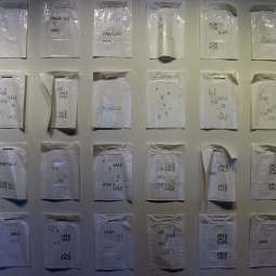 "Sarabel Santos-Negrón, Tax Heaven (detail), 78 plastic shopping bags, handmade printing, 96"" x 276"", 2019"