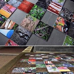 Sarabel Santos-Negrón, Groundscapes Displaced, Floor sculpture: photographs, PVC and varnish, 2017-2018
