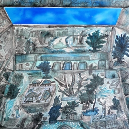 Samuel Sarmiento, Horas azules, Mixed media on paper, Aruba, 2018