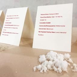 Taisha Carrington, Who owns the island?, Installation with sea salt and place cards, 2019